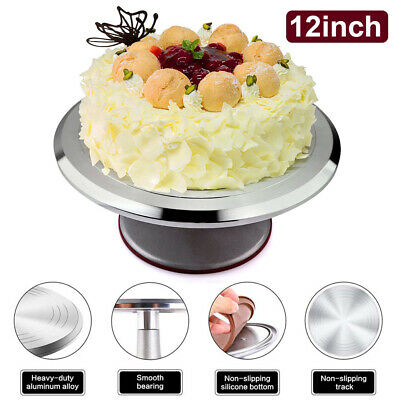 12'' Rotating Cake Icing Deocrating Revolving Kitchen Display Stand Turntable Uk
