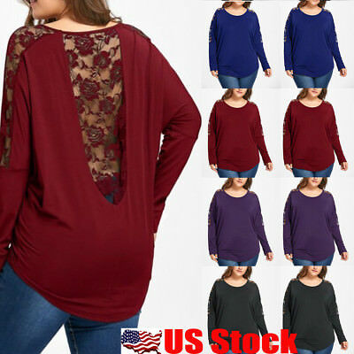 Women Plus Size Tops Long Sleeve Casual Baggy Lace Backless T Shirt Loose Blouse