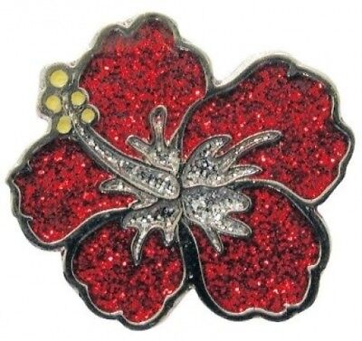 Navika Hibiscus Glitzy Golf Ball Marker With Hat Clip. Free Shipping