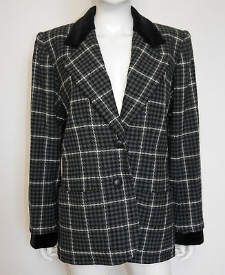 YVES SAINT LAURENT Vintage Oversized Karo Blazer 80s Check Jacket 36-40 S-M-L