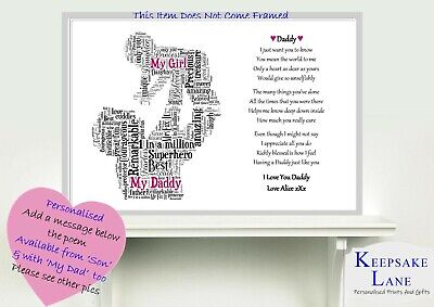 DAD DADDY SON Daughter Grandad Fathers Day Birthday Word Poem Personalised  Gift