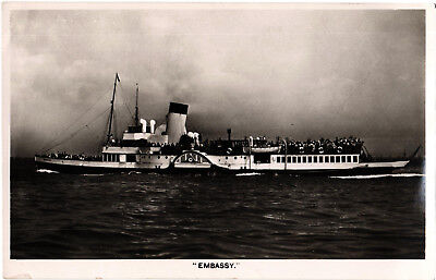 Paddle Steamer Embassy, b+w RP postcard, unposted
