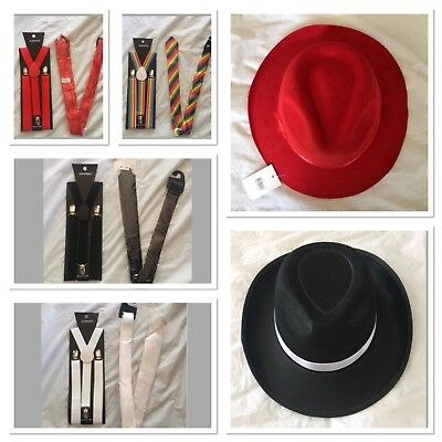 1920's 20s Gangster Hat Trilby Braces Tie Al Capone Gatsby Fancy Dress