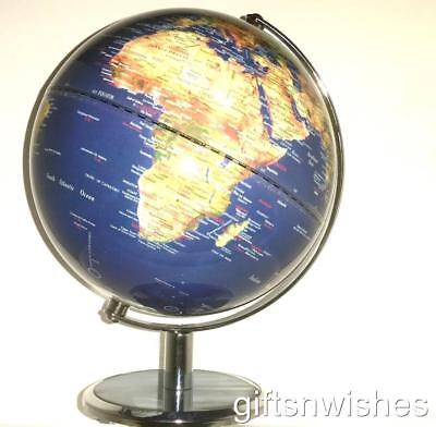 BEAUTIFUL Clear Blue Satellite View Educational World Globe  25cm Home Decor