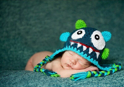 5Colors Baby Boy Girl Toddlers Monster Knit Crochet Hat Beanie Cap Photo Prop