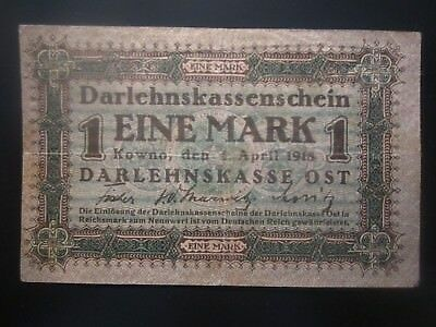 1918 Germany Poland Kowno 1 Mark
