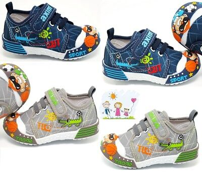 BOYS Canvas shoes trainers BABY BOY Real leather insoles size 3.5 - 7 UK Toddler