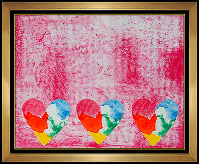 JIM DINE Original Color Lithograph & COLLAGE HAND SIGNED Rare HEARTS Modern Art
