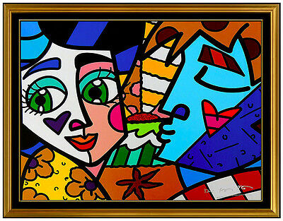 Romero Britto Embellished Giclee On Canvas Signed Please Sweetheart Pop Artwork