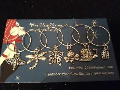 Wine Glass Charm - Set of 6 - Bugs & Insects (Dragonfly, Ladybug, Snail, Bee)