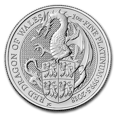 2018 Great Britain 1 oz Platinum Queen's Beasts The Dragon - SKU#166546