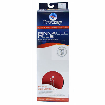 Powerstep Pinnacle Plus Orthotic Shoe Insoles w/Metatarsal Pad- ALL SIZES