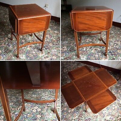 Antique Wooden Inlaid 4 Sided Drop Leaf Table Collection Only