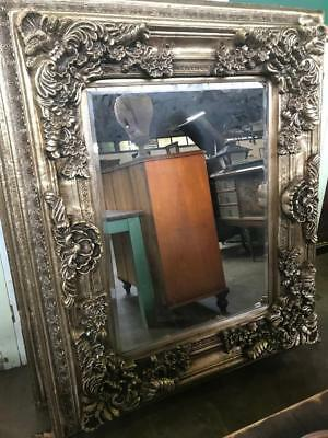 SILVER ROCOCO INFLUENCED CARVED FRENCH LOUIS XV  BEVELLED MIRROR 130 x 155CM
