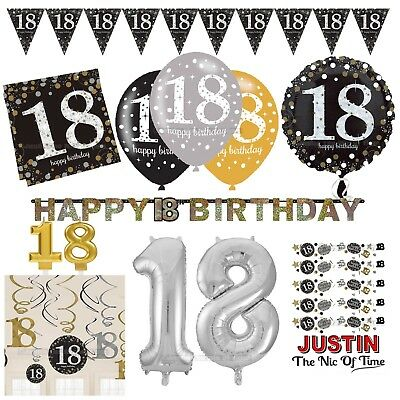 18th Gold Celebration Birthday Party Supplies Balloons Tableware & Decorations