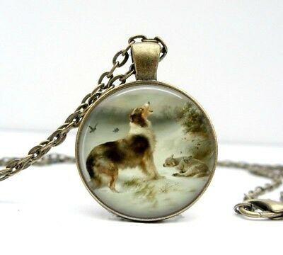 Found Glass Dome Vintage Collie Dog Art Necklace English Shepherd by Walter Hunt