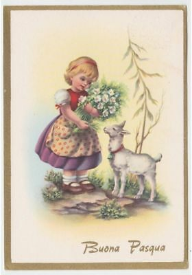 Happy Easter Card Tableware Vintage Fg Little Girl with the Sale Little Bell