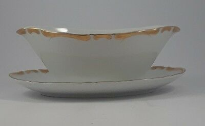 Harmony House 3668 Golden Starlight Gravy Boat~Attached Underplate