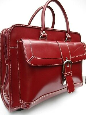 FRANKLIN COVEY Red Leather Wheeled Rolling Luggage Laptop Briefcase Womens