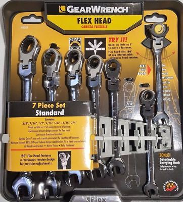 New! GearWrench 7-Piece Flex Head Ratcheting Combination Wrench Set-SAE