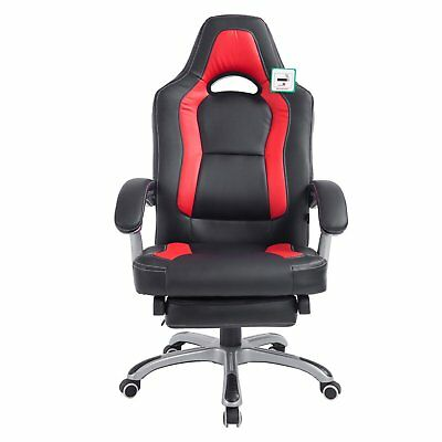 Racing Style Gaming Chair Office Computer Desk Footrest PU Leather Black Red New
