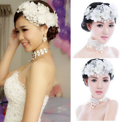 Bridal Bride Flower Lace Pearl Tiara Wedding Headpiece Hairpin Hair Accessory US