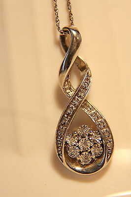 Sweet Sterling Silver Diamond Flower Cluster Infinity Journey Necklace Pendant