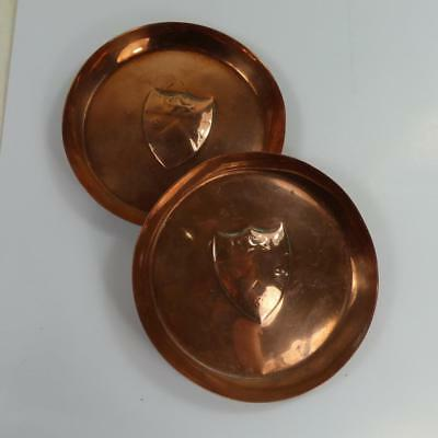 VINTAGE solid COPPER LION crest Armorial Shield s & s small antique dishes