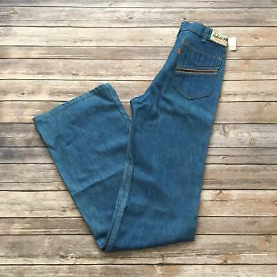 VTG NWT Women's Bell Bottom Denim Jeans 60s 70s Orange Tab Movin' On 29x36