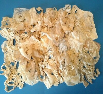 LOT of 60+ ANTIQUE LACE TRIM EDGING Big Variety Great for Crafts Doll Clothes!