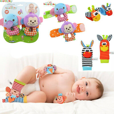NEW Born Baby Infant Socks Wrist Bands Rattle SOUNDS Rattling Sensory UK STOCK