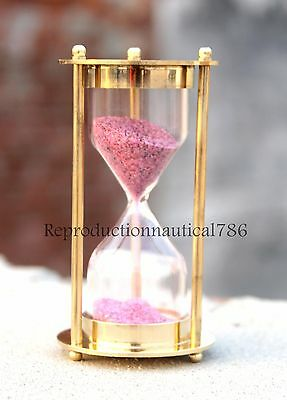 1917 Solid Brass Hour Glass Maritime Vintage Ross London Sand Timer Decorative