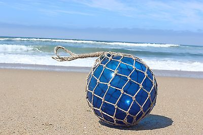 """12"""" Large Vintage Style Japanese Fishing Float; Blue Glass with Rope Netting"""