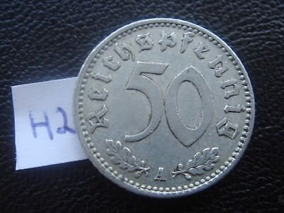 Rare Old WWII Antique Germany 1940 A 3rd Reich SS Nazi Eagle 50 pfenning Coin H2
