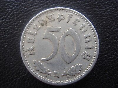 Rare Old WWII Antique Germany 1943 D 3rd Reich SS Nazi Eagle 50 pfenning Coin H2