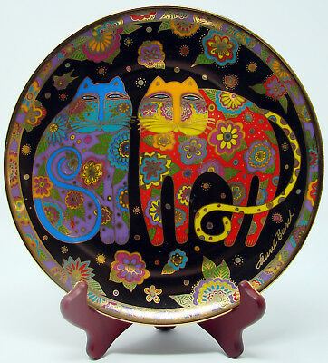 "Flowering Felines Cats Collectable 8"" Plate Laurel Burch Franklin Mint HB6483"