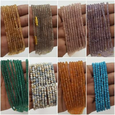 Natural Multi Stone Mix Faceted Rondelle Bead Strand 18 inch 3-5 MM