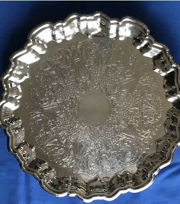 """Vintage Leonard Silverplate Footed 15-1/2"""" Etched Round Serving Tray, Nice!!!"""