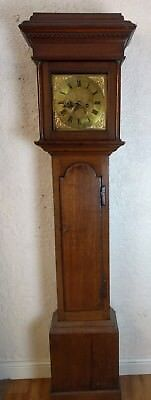 Oak Cased Eight Day Brass Faced Georgian Longcase Clock