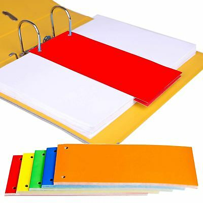 1/3 A4 Card Dividers for Ring Binders Lever Arch Folders Subject Filing Document