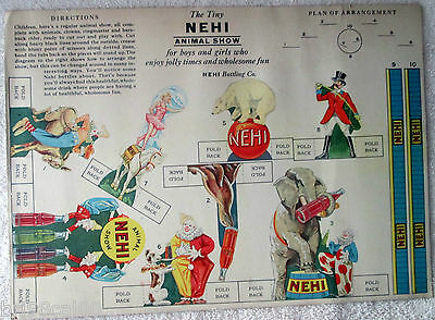 Scarce NEHI soda Tiny Animal Circus Show premium uncut-1940's