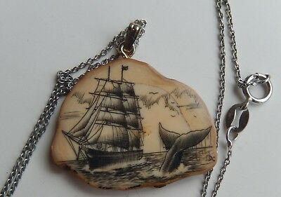 Vintage SCRIMSHAW SIGNED Nautical WHALING Boat PENDANT w/STERLING Chain