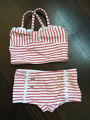 Janie and Jack Toddlers Girls 2T Swimsuit Two Piece pink Stripes