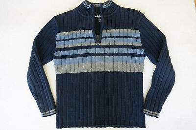 Boys Sweater Size M 10/12 Blue Navy Cotton Stripes Knit Top Pullover Half Zip