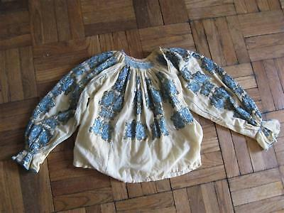 Antique Romanian Cheesecloth Embroidered Peasant Blouse & Skirt Sequins