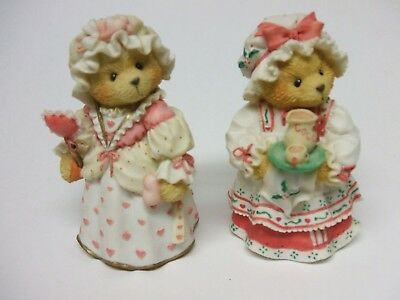 Limited Edition Set of 2 Cherished Teddies Christmas Figurines ~ Very Nice ~ 3.5