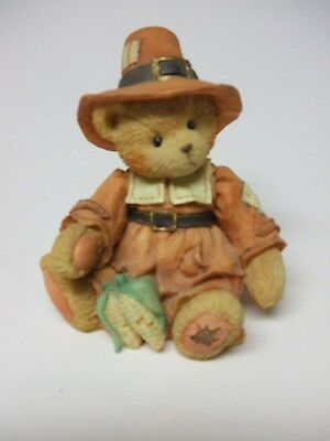 Limited Edition Cherished Teddies Thanksgiving Figurine ~ Very Nice ~ 3 inches t