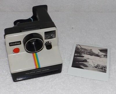 Vintage POLAROID OneStep Rainbow Stripe Instant SX-70 Film Camera -  Tested VGC