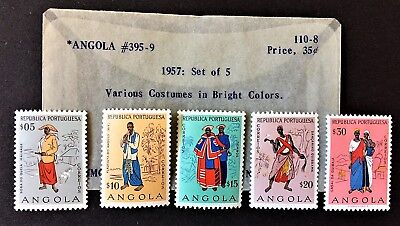1957 Set of 5 ANGOLA COSTUMES Stamps Scott #395-9 MINT and Hinged.