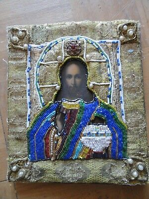 Antique Russian Icon With Nice Canvas And Semi Precious Stones And Pearls